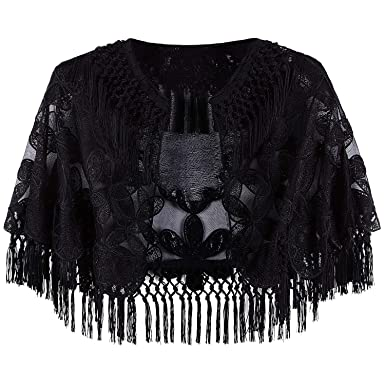 ebf1941ea0 VIJIV Women's 1920s Evening Cape Formal Gowns Shawl Bolero Embroidered  Fringe Black Capelet Flapper Cover Up for Wedding Wear at Amazon Women's  Clothing ...