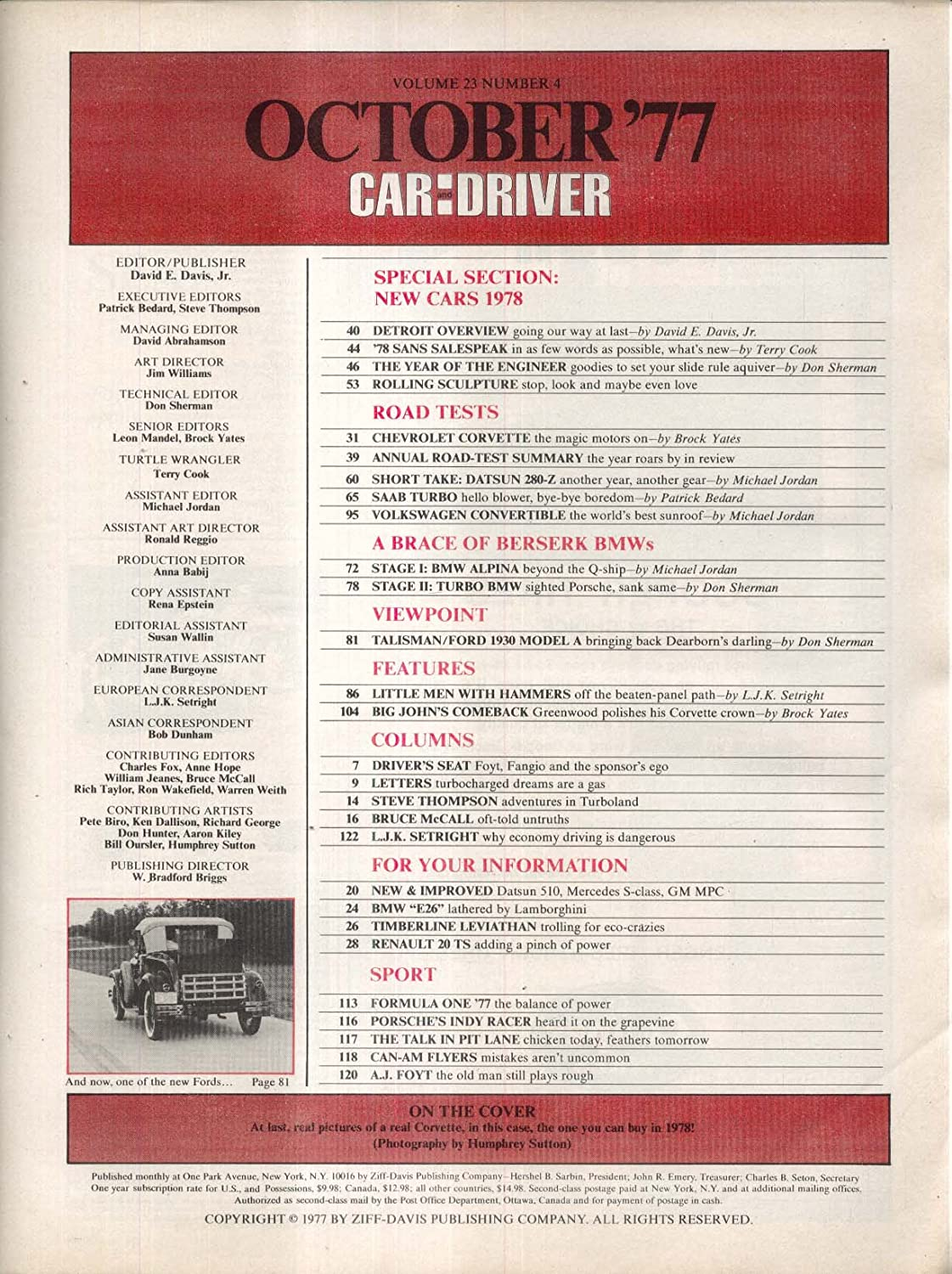 CAR & DRIVER Corvette Datsun 280-Z Saab Turbo Volkswagen road tests 10 1977 at Amazons Entertainment Collectibles Store