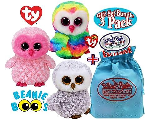 "TY Beanie Boos ""Owls"" Owen, Twiggy & Owlette Gift Set Bundle with"