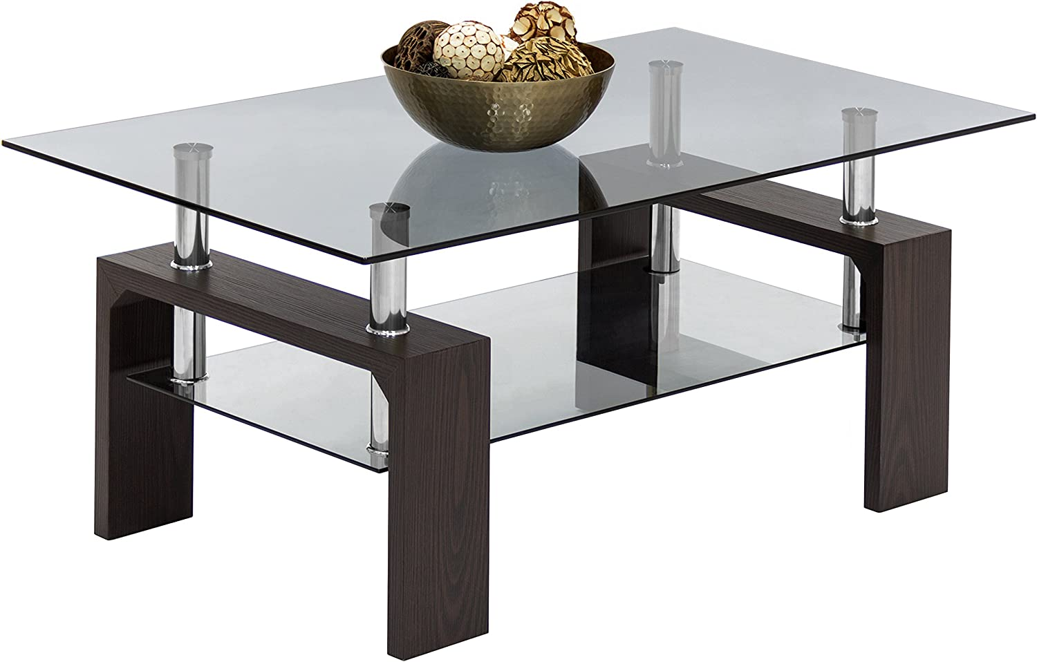 Amazon Com Best Choice Products Home Furniture Wood Glass Top Coffee Table Dark Espresso Brown Kitchen Dining [ 961 x 1500 Pixel ]