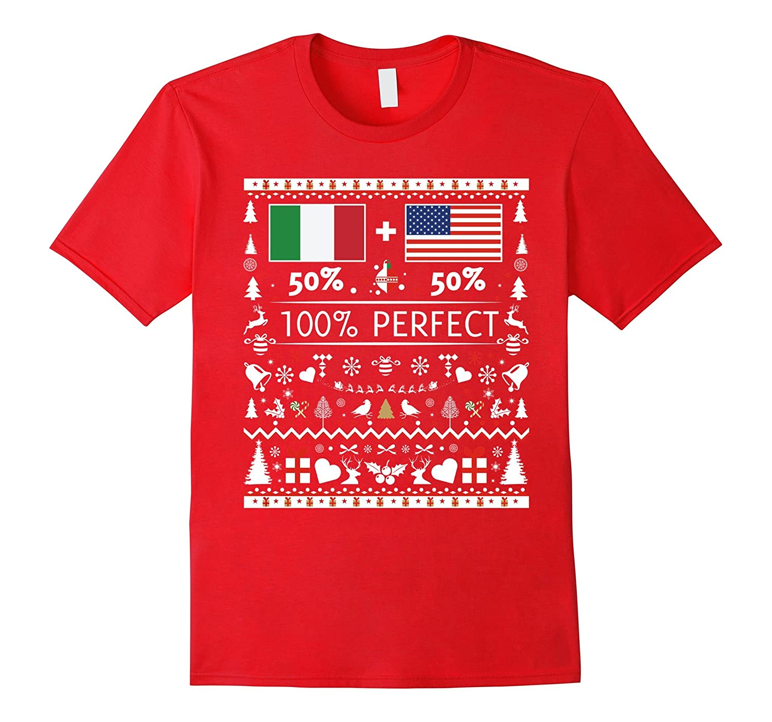 50% Italy 50% USA Flags Christmas T Shirt for Italians-ANZ