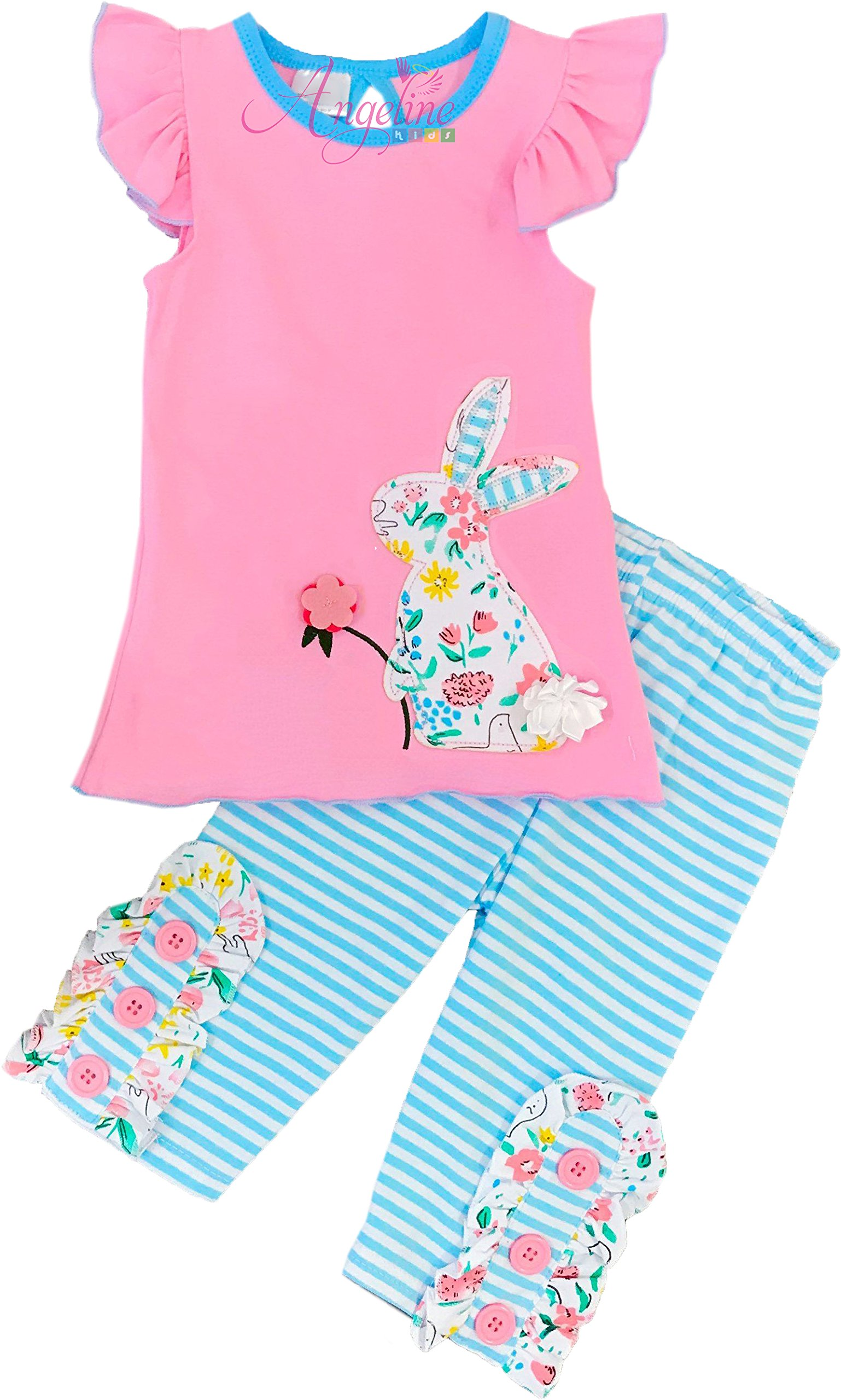 Boutique Clothing Girls Easter Bunny Aqua Stripes Capri Set 7/3XL