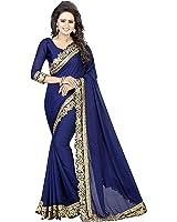 Siddeshwary Fab Women's Chiffon Silk Blue color Saree With Blouse Piece ( Blue )