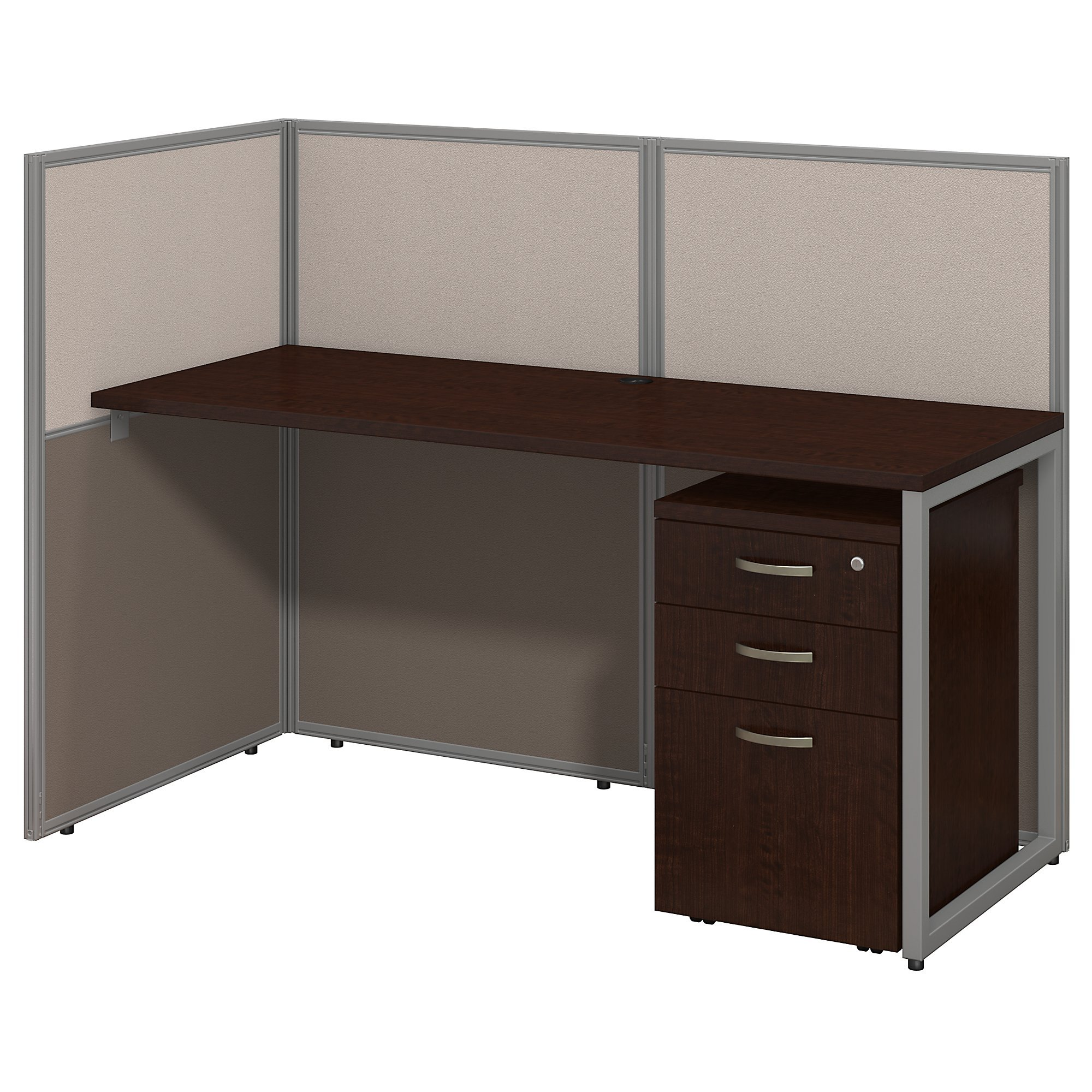 Bush Business Furniture Easy Office 60W Straight Desk Open Office with Mobile File Cabinet in Mocha Cherry