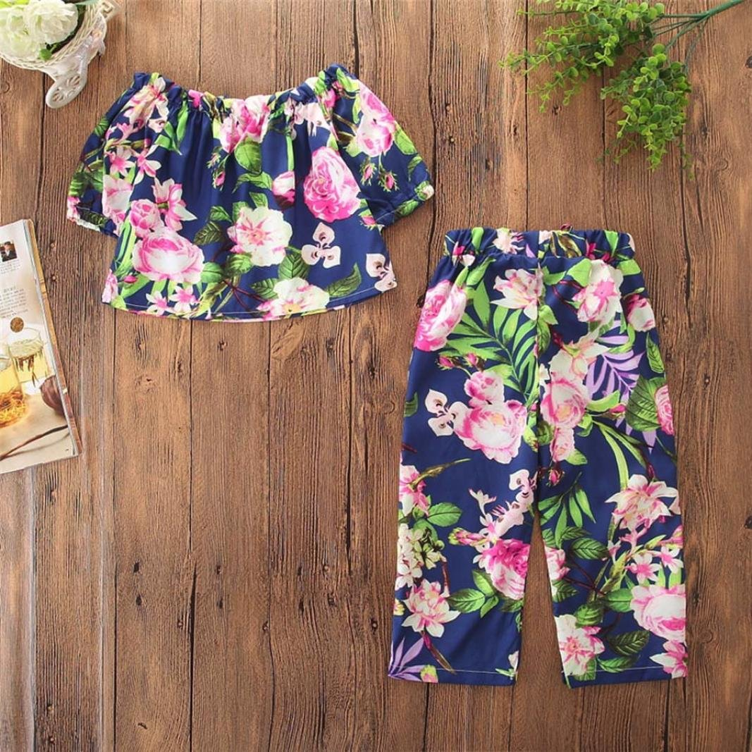 WARMSHOP 2PC Kids Girl Clothes Off Shoulder Floral Print Half Sleeve Tank Tops+Pocket Casual Pant for Beach Holiday Outfits
