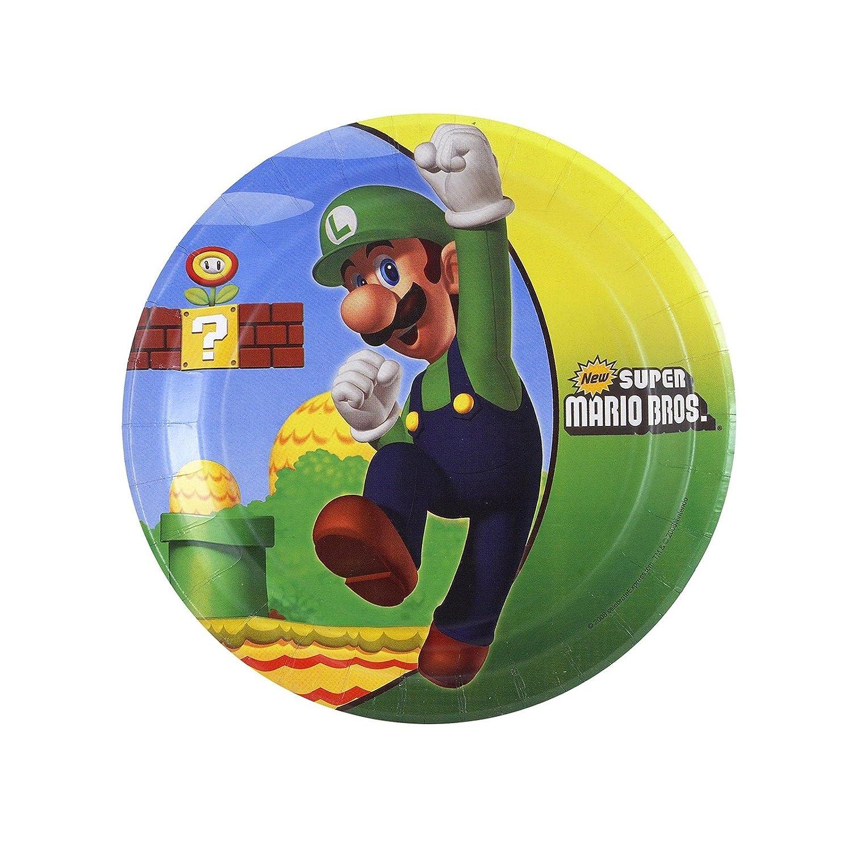 Super Mario Bros. Dessert Plates (8 per package) Party Destination 189209-GEM-Mario-E