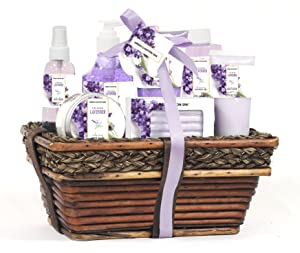 Mothers Day Gift Baskets - Green Canyon Spa Luxury Wicker Basket Gift Set in Lavender, 8 Pieces Premium Bath and Body Spa Products in Handcrafted Basket