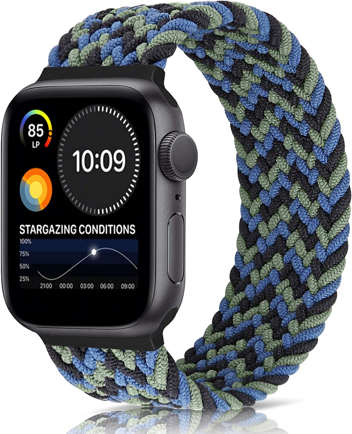 Unnite Braided Stretchy Solo Loop Band Compatible with Apple Watch 42mm 44mm, Sport Straps Nylon Woven Elastic Watch Bands Compatible for iWatch Series 6/5/4/3/2/1/SE (Camouflage Blue, 42mm/44mm:#8)