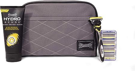 Wilkinson Sword Hydro 5 Sense Washbag Set - Pack de maquinilla de afeitar de 5 hojas para hombre + 4 recambios de cuchillas + crema de afeitar Hidratante y anti Irritación + neceser Exclusivo
