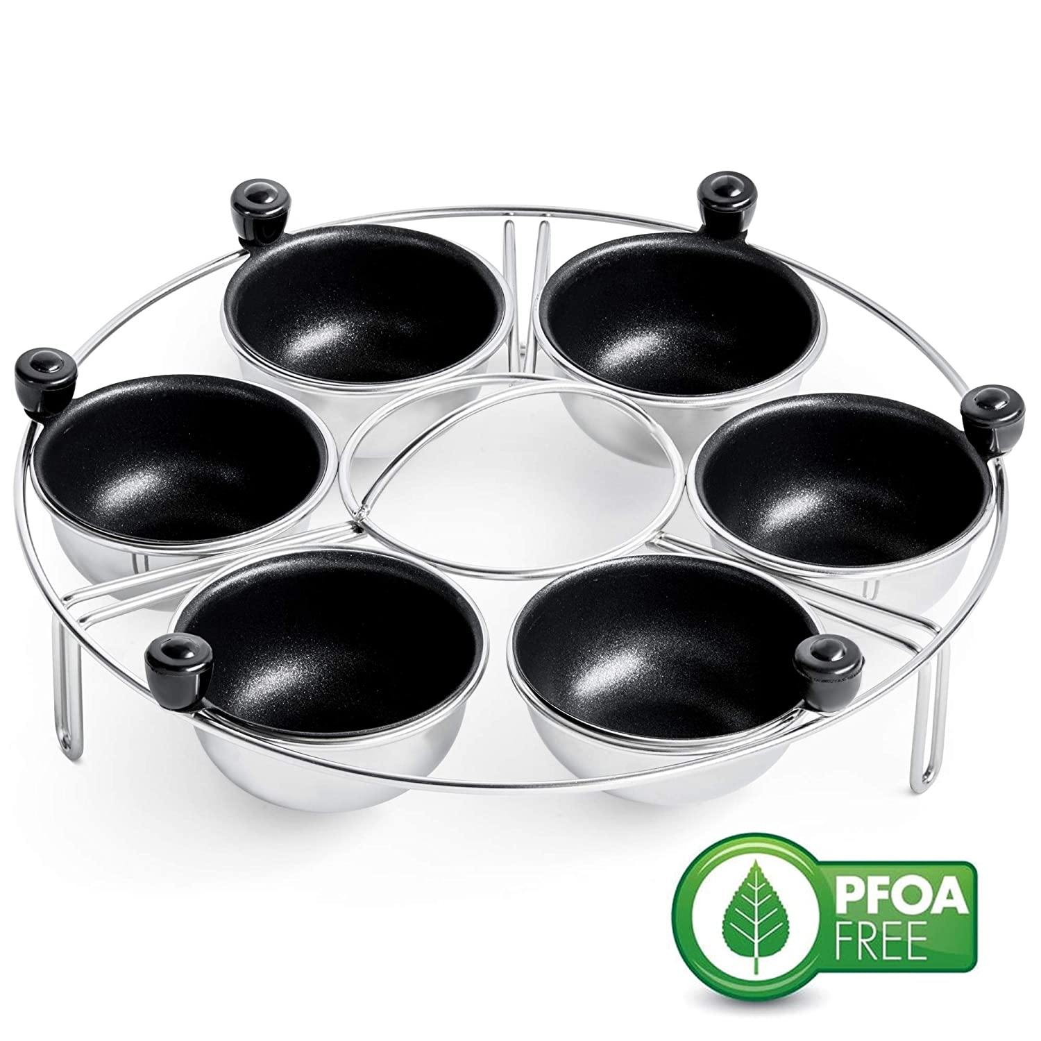 Eggssentials Egg Poacher | Stainless Steel Egg Rack | 6 Poached Egg Maker Cups PFOA Free Nonstick | 9 inch Diameter Egg Steamer Rack Fits Many sized Pans Skillets …