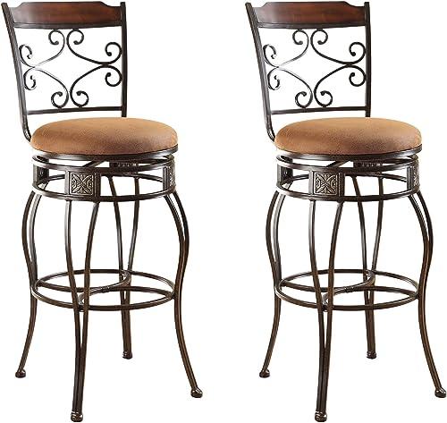 ACME Set of 2 Tavio Swivel Bar Chair, 29-Inch