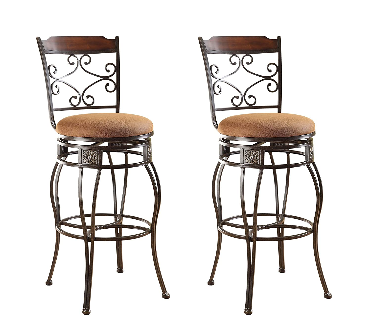 amazoncom acme set of 2 tavio swivel bar chair 29inch kitchen u0026 dining