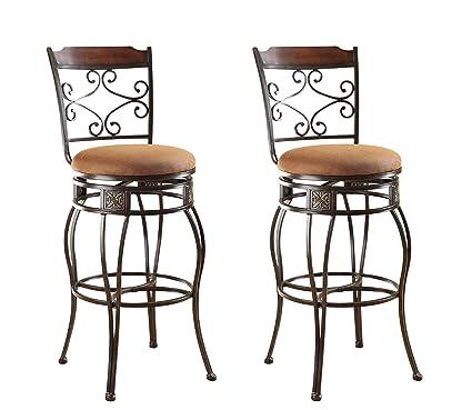 ACME 96045 Set Of 2 Tavio Swivel Bar Chair, 29 Inch