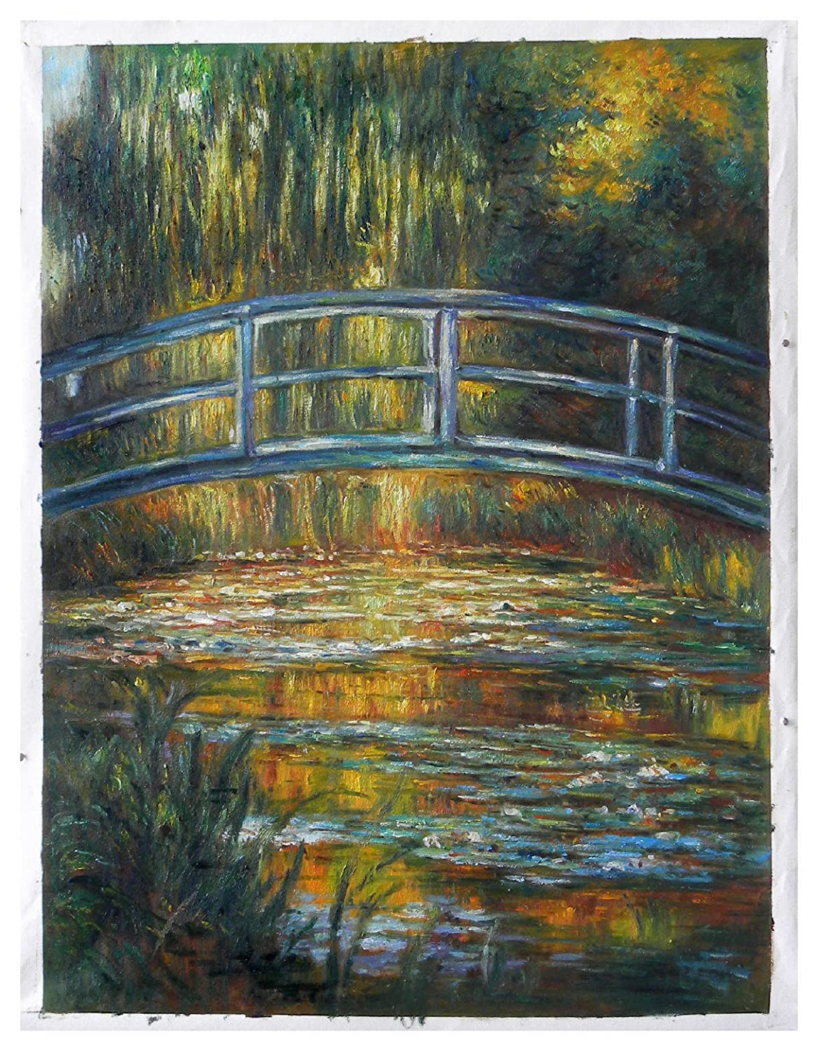 Lilies in a Pond with Bridge oil painting modern landscape