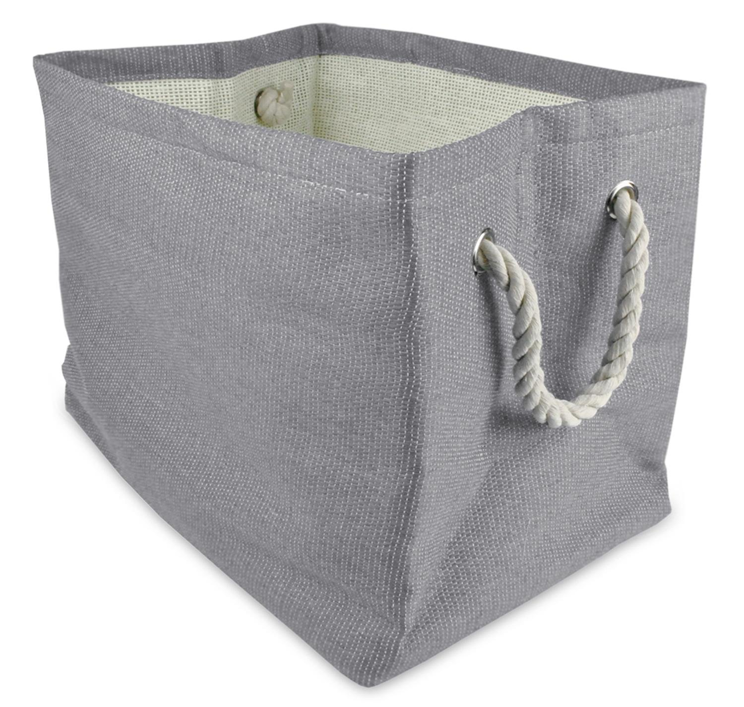 CC Home Furnishings 17'' Gray Solid Pattern Large Sized Rectangular Paper Basket with Rope