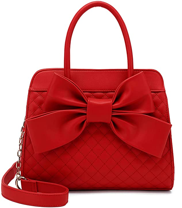 1950s Handbags, Purses, and Evening Bag Styles Scarleton Quilted Bow Satchel Handbag for Women Vegan Leather Crossbody Bag Shoulder Bag Tote Purse H1048  AT vintagedancer.com