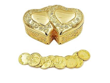 Elegante oro doble corazón boda Arras con 13 monedas Set, Arras de boda gdh01