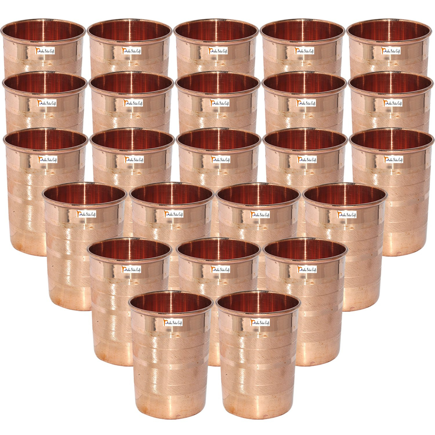 Set Of 24 - Prisha India Craft  Copper Cup Water Tumbler - Handmade Water Glasses - Traveler's Copper Mug For Ayurveda Benefits - Christmas Gift Item