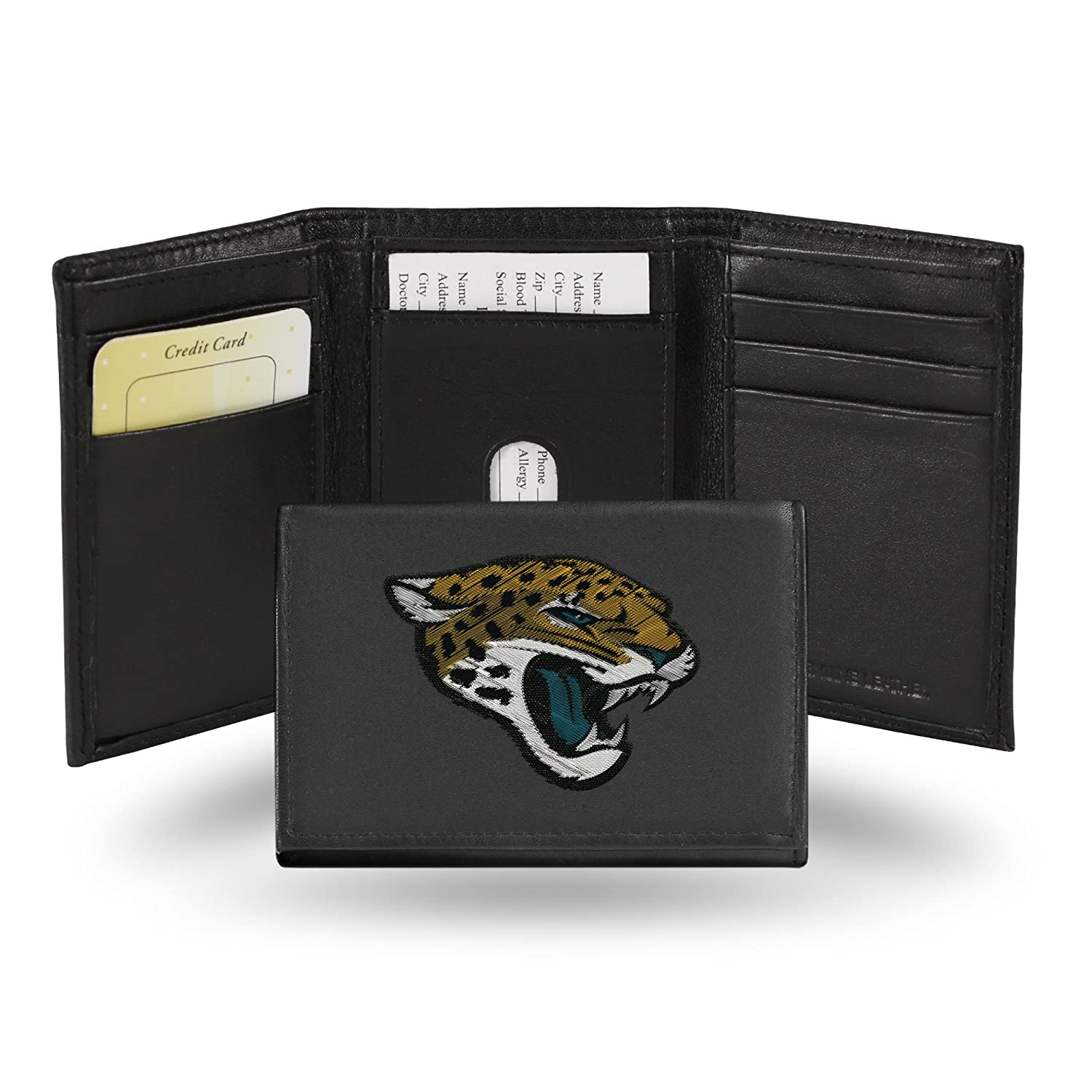 Rico Industries NFL Jacksonville Jaguars Embroidered Leather Trifold Wallet