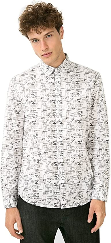 Desigual Camisa 67 C12e2 Victor Blanco Blanco Small: Amazon ...