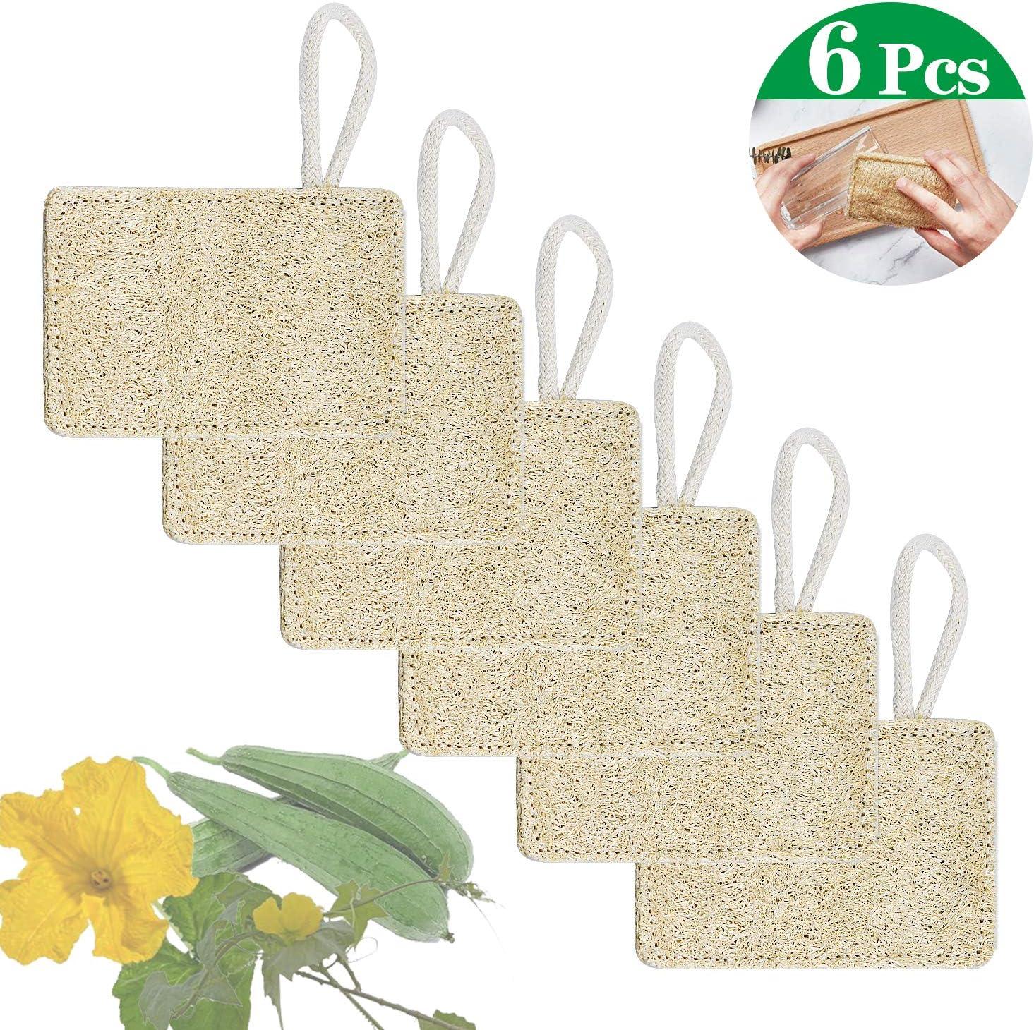 FEIGO 6 Piezas Loofah Esponja, Loofah Para Lavar Platos, Natural ...
