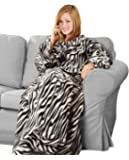 "Napa Soft Fleece Blanket with Sleeves And Pockets Zebra, Super Cozy Microplush Fleece Wearable Throw for Women and Men Adult Comfy Throw Robe, 53"" x 71"""