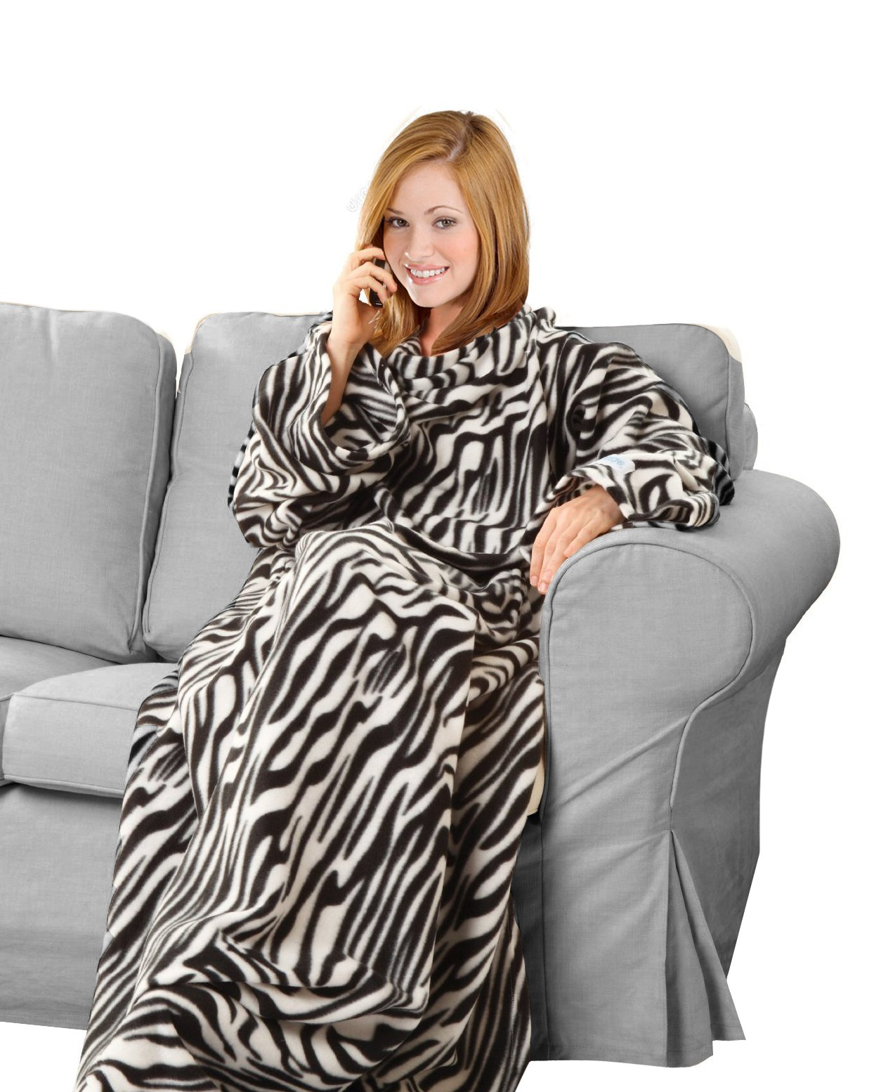 KC Caps Super Soft Fleece Blanket with Sleeves and Pockets, Super Cozy Microplush Wearable Throw for Women and Men Adult Comfy Throw Robe, 53'' x 71'', Zebra
