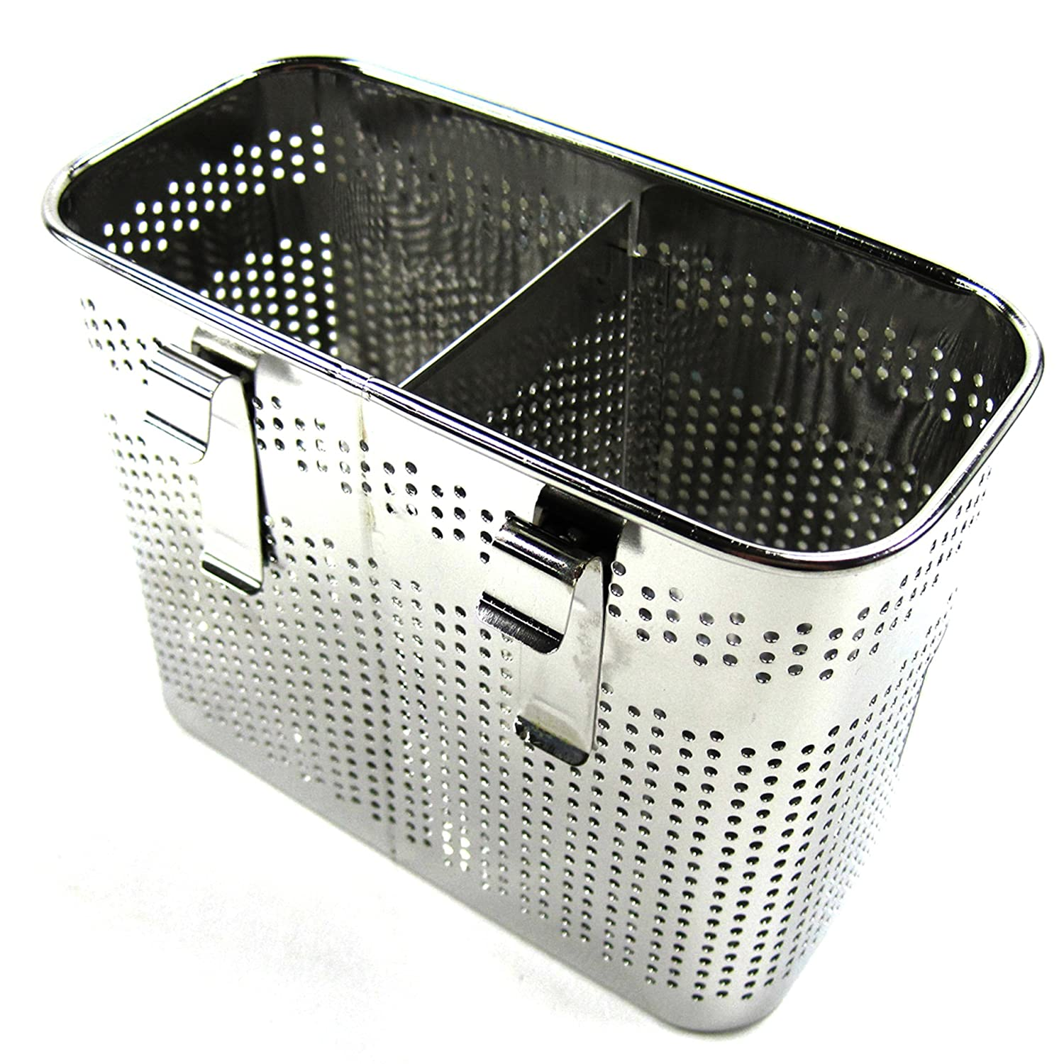 2 Divided Square Stainless Steel Perforated Cutlery Holder Sink Storage Basket by Stopia