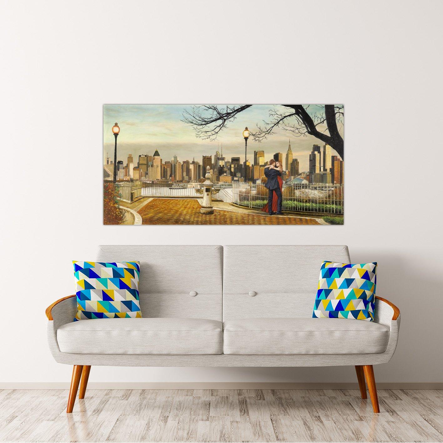 Rahmen Druck auf Leinwand Leinwand Leinwand mit Rahmen in Holz Pierre Benson Lovers in New York 160x80 CM B07BNLTN9L   Elegantes Aussehen  35ad80