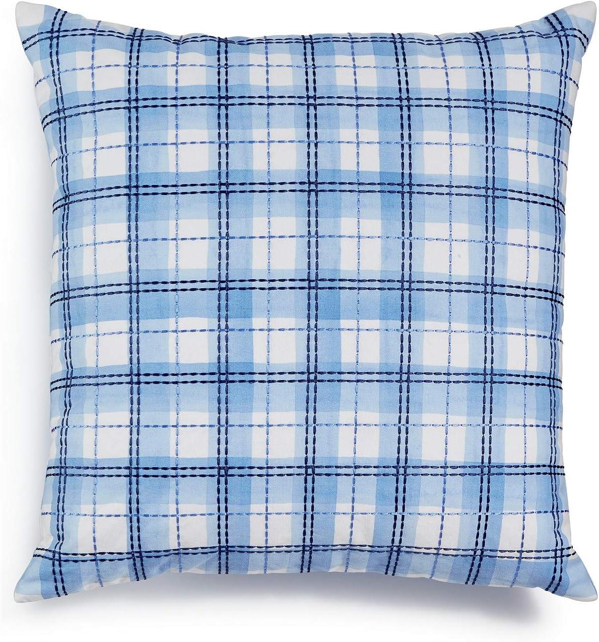 Amazon Com Charter Club Damask Designs Embroidered Blue Plaid 18x18 Decorative Pillow Home Kitchen