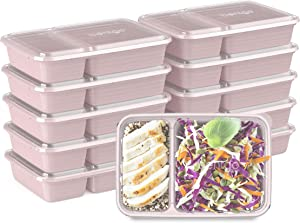 Bentgo Prep 2-Compartment Meal-Prep Containers with Custom-Fit Lids - Microwaveable, Durable, Reusable, BPA-Free, Freezer and Dishwasher Safe Food Storage Containers - 10 Trays & 10 Lids (Blush Pink)