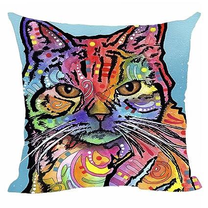 13e3bdc3901c Amazon.com: CafeTime Cute Cats Pillow Covers Art Pet Dog Throw Pillow Case Customize  Gift Decorative Canvas Pillowcases for Car Sofa Seat 18