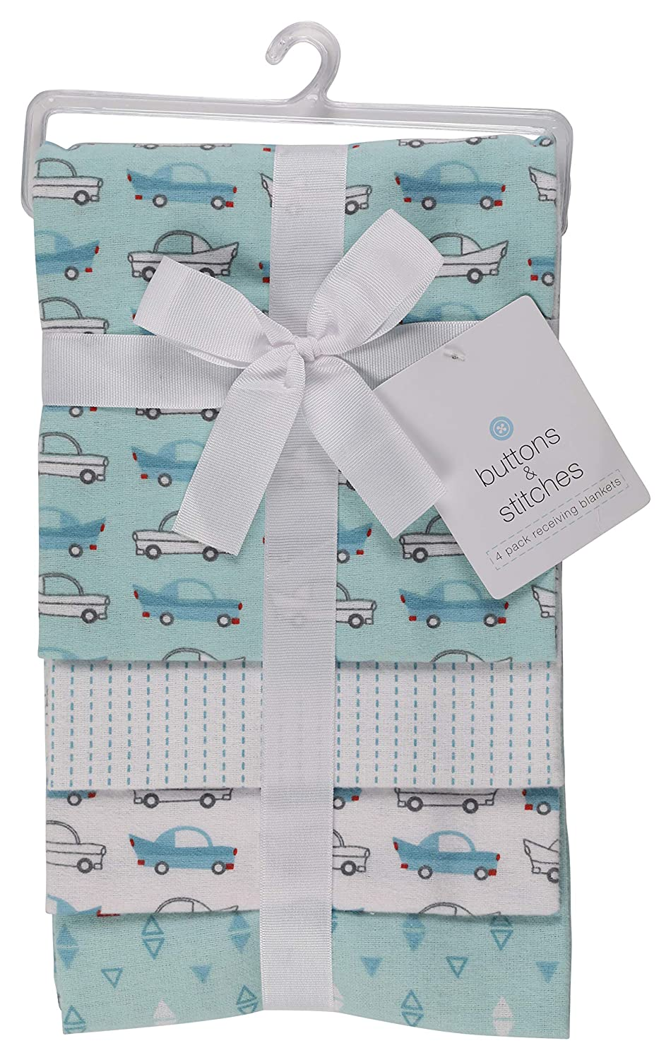 Cars Buttons and Stitches Little Beginnings Four Piece Laddered Receiving Blankets