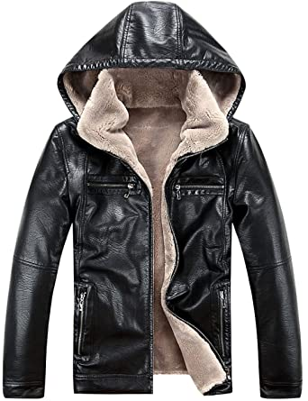 20604e78895a Tanming Men s Premium Thicken Fur PU Leather Jacket With Hoodie at Amazon  Men s Clothing store