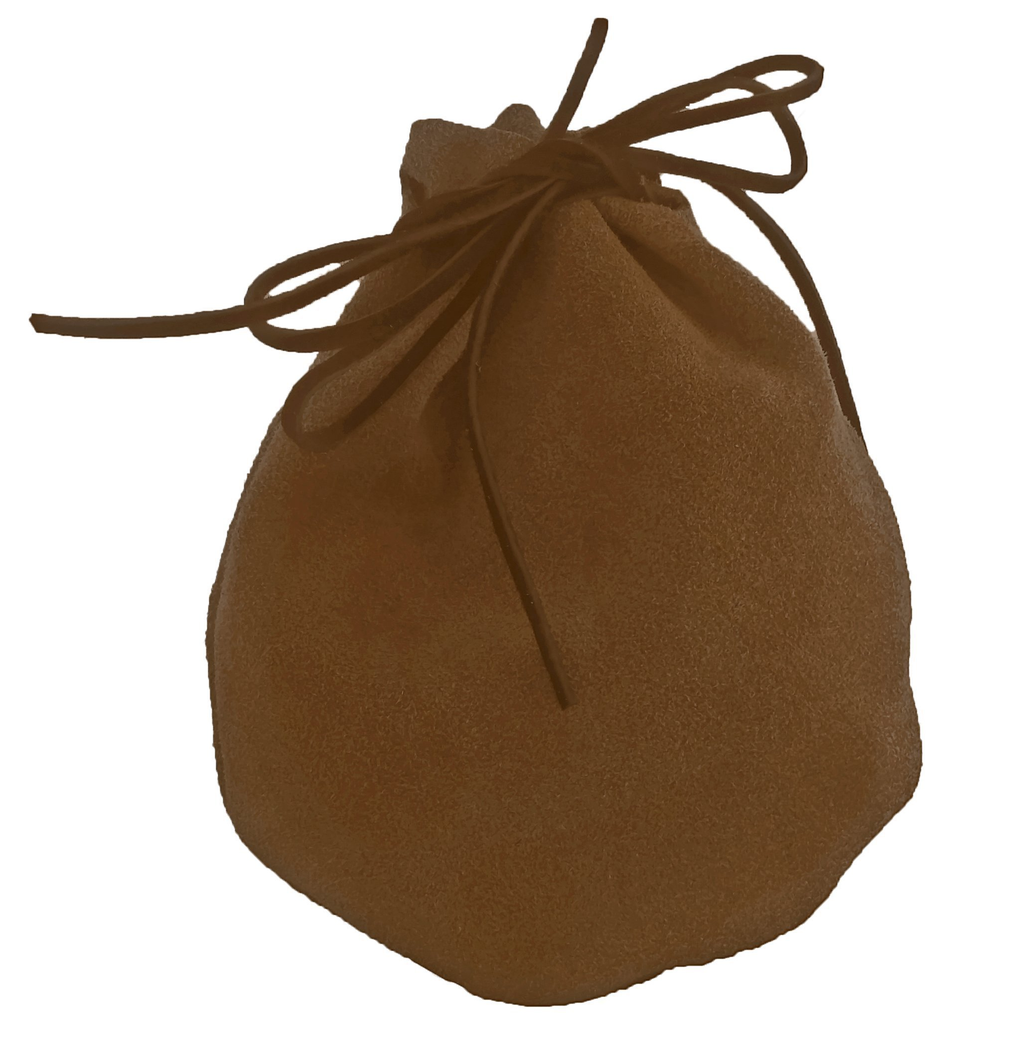 Pouch Drawstring Heavy Suede 5 X 6 Inches, Brown