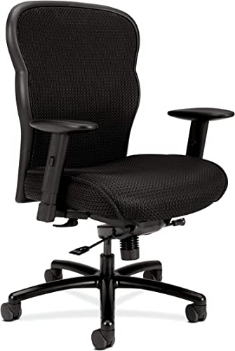 HON Wave Mesh Big and Tall Executive Chair | Knee-Tilt | Adjustable Arms | Black Fabric Seat | HVL705 Model