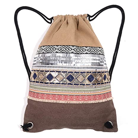 1e529b1c27 Drawstring Bag Gym Bag for Women Sequin Backpack Canvas Travel Bag Coffee   Amazon.ca  Luggage   Bags
