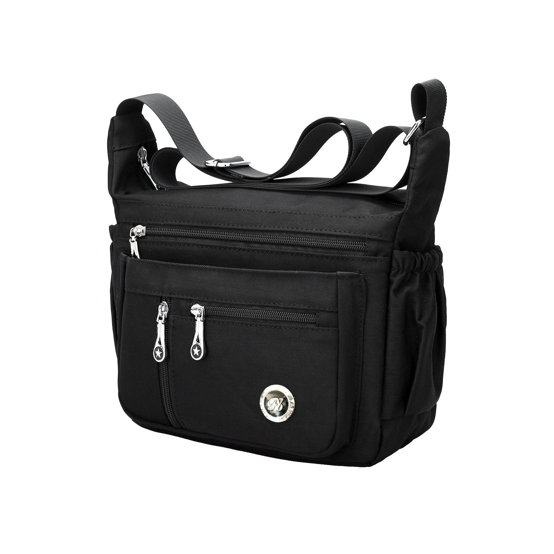 Fabuxry Purses and Shoulder Handbags for Women Crossbody Bag Messenger Bags (Black)