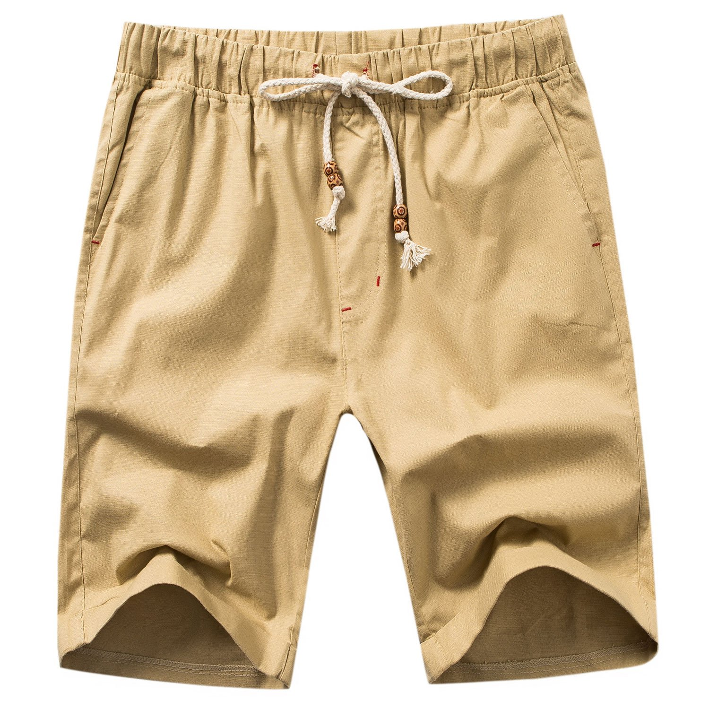 Manwan walk Men's Linen Casual Short 311 (Large, Khaki) by Manwan walk