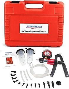 AutoWanderer Tool 21Pcs Brake Bleeder Kit Hand Held Vacuum Pressure Pump Tester with Adapters Case One-Man Brake Clutch Fluid Oil Bleeding System Tool