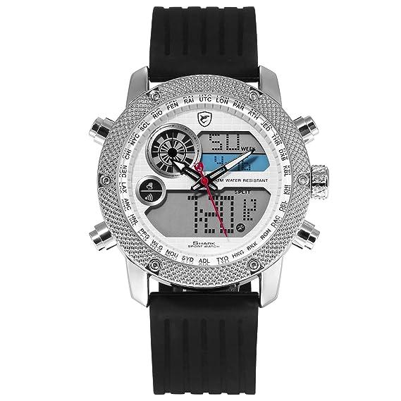 SHARK hombre deportivos Cuarzo relojes de pulseras silicona Fecha del LCD Día 24 Horas Pantalla Alarma