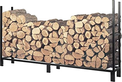 Heavy Duty Outdoor Log Holder Wood Storage Black Steel Firewood Rack 4 ft