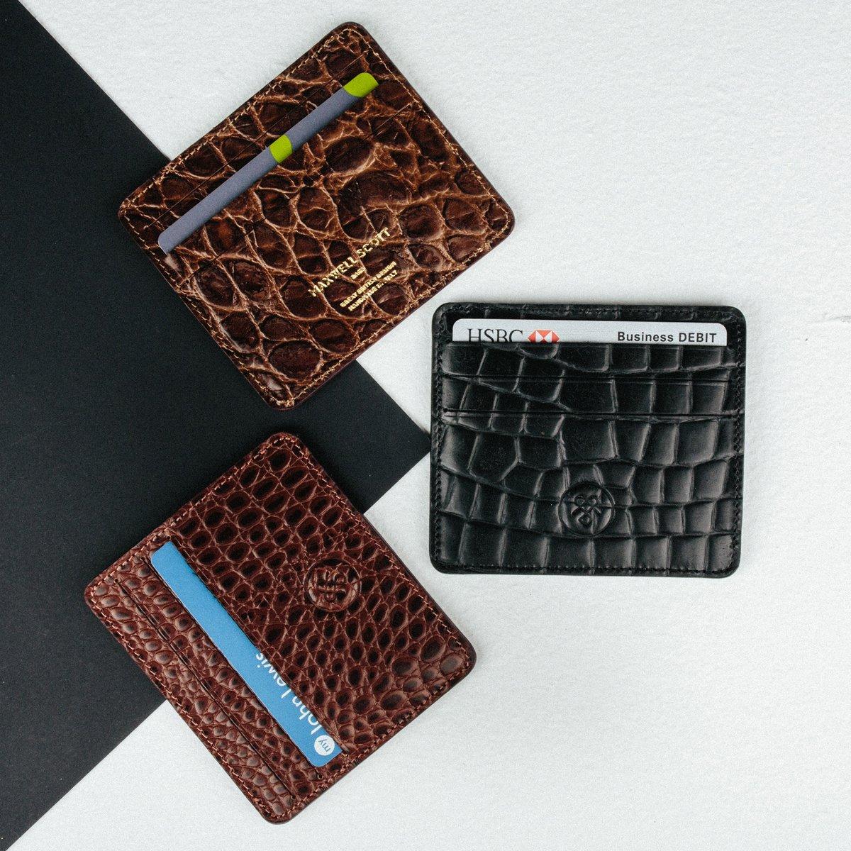 Maxwell Scott Luxury Italian Leather Mens Faux Crocodile Card Holder - Choc
