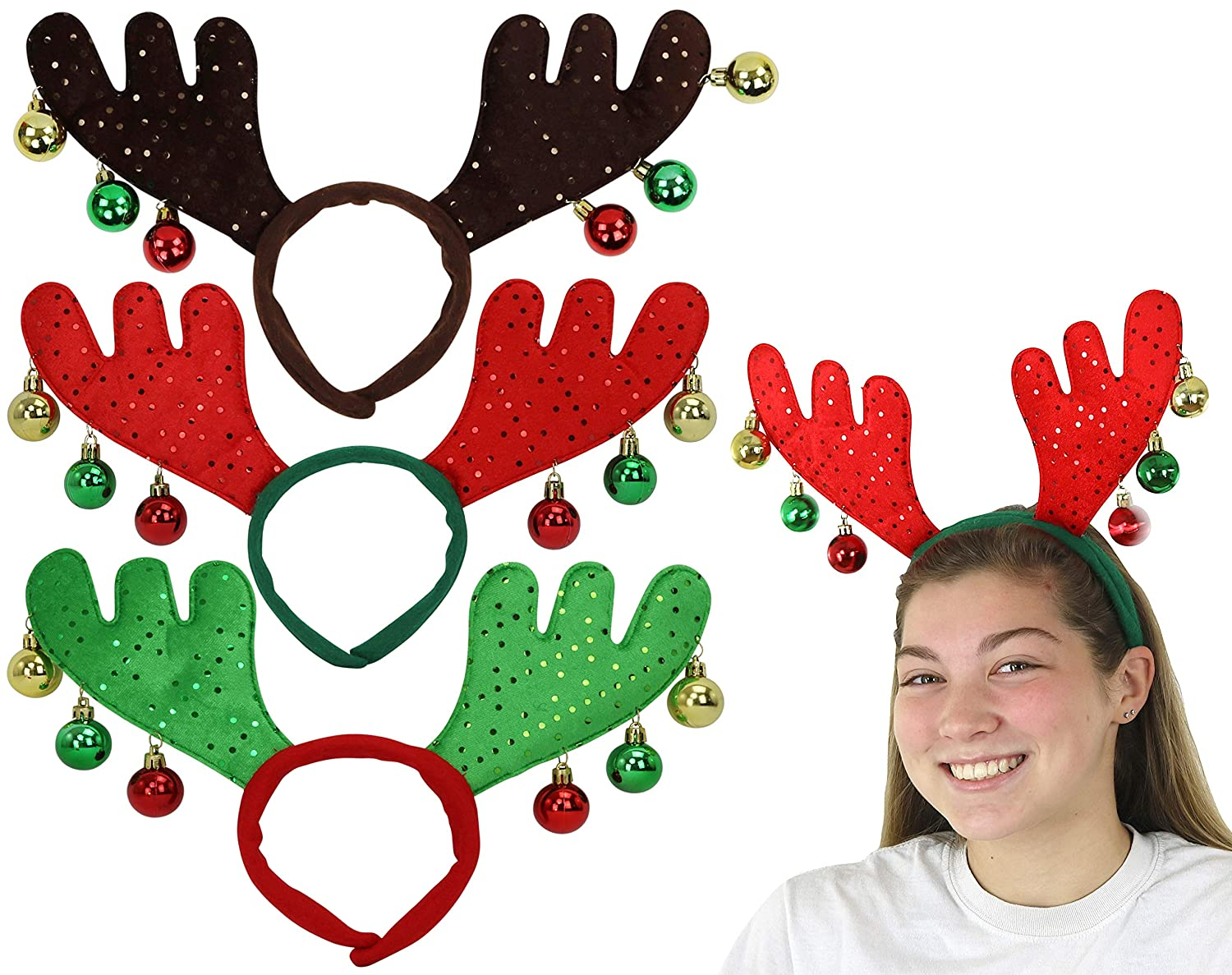3-Pack 3 Colors Iconikal Christmas Moose Antler Headband with Ornaments