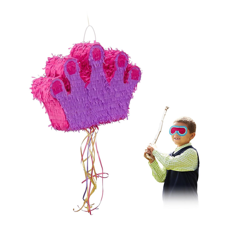 Relaxdays Piñata Infantil XXL Corona, Papel, Rosa-Lila, 31 x 49 x 10 cm