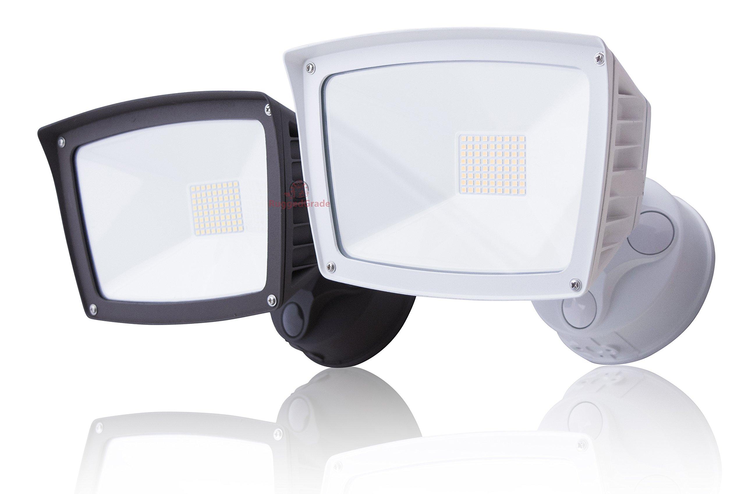 4800 Lumens - LED Wall Flood Light with Dusk to Dawn Sensor - Bronze- 5000K