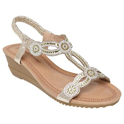 sizes 3-8 Ladies Sandal Slip on Sparkling Jems Jewelled Womens Sandals