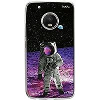 Capa Personalizada Astronauta na Lua, Husky para Moto G5 Plus, Capa Protetora para Celular, Colorido