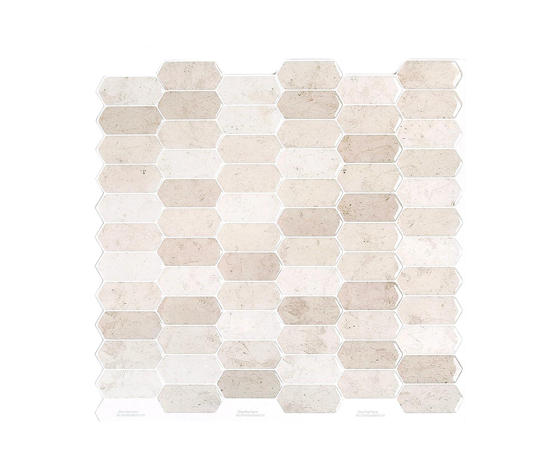 Peel and Impress - Easy DIY Peel and Stick Adhesive Backsplash Tiles, 24040 Golden Polygon, 10 x 10 (4 Tiles) Peel & Impress