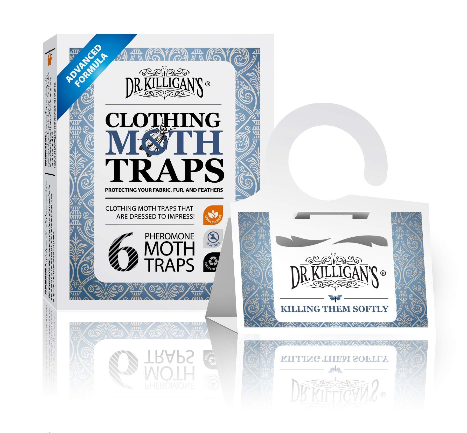Dr. Killigan's Premium Clothing Moth Traps with Pheromones Prime   Non-Toxic Clothes Moth Trap with Lure for Closets & Carpet   Moth Treatment & Prevention   Case Making & Web Spinning (White)